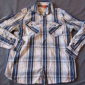 Mens Merrell Plaid Long Sleeve Button Front Shirt